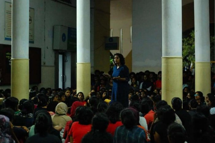 Hundreds of girl students of the girls' hostel of the College of Engineering, Thiruvananthapuram (CET), spent the whole of Wednesdaynight in the college campus shouting slogans. DH Photo.
