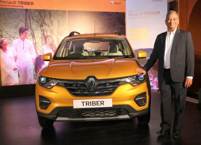 Renault India MD Venkatram Mamillapalle with the Triber.