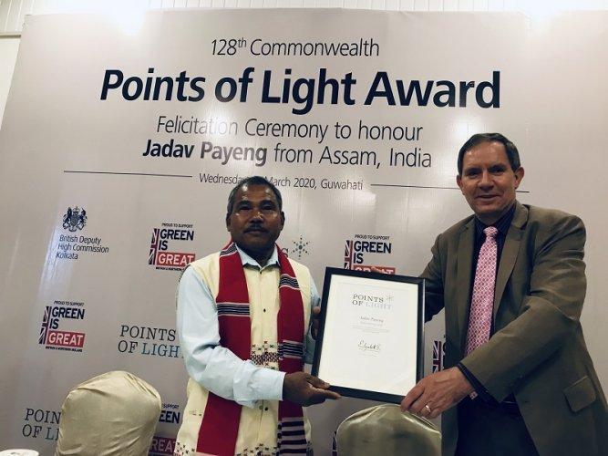 Photo: Nicholas Low with Jadav Payeng in Guwahati recently. (Photo credit: British Deputy High Commissioner's office, Kolkata)