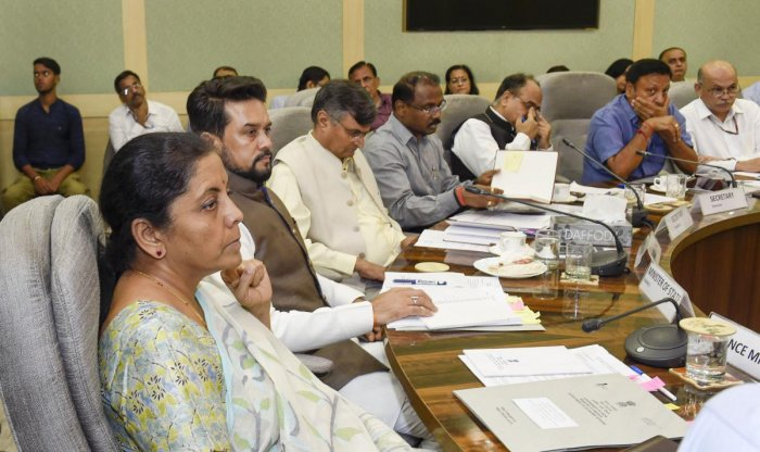 Union Finance Minister Nirmala Sitharaman, MoS in the Ministry of Finance Anurag Thakur and others attend a pre-budget meeting (PTI File Photo)