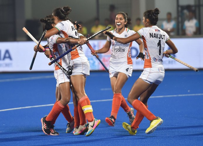 Indian Captain Rani Rampal celebrates with her teammates after scoring a goal against USA during FIH Hockey Olympic Qualifiers 2019 (Women), at Kalinga Stadium in Bhubaneswar, Odisha. (PTI Photo)