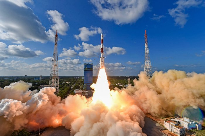 he Indian Space Research Organisation's workhorse rocket PSLV-C48 carrying India's radar imaging earth observation satellite RISAT-2BR1 and nine foreign satellites blasts off from the spaceport in Sriharikota. (PTI Photo)