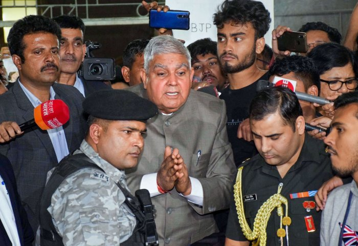 West Bengal Governor Jagdeep Dhankhar interacts at Jadavpur University as he arrives to attend a function. (PTI Photo)