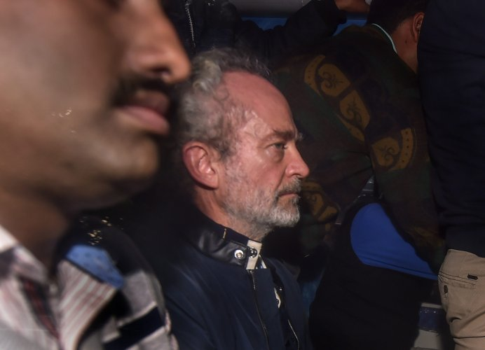 Michel Christian, the alleged middleman in the multi-crore AgustaWestland chopper deal, being produced at a CBI court in Patiala House Courts, New Delhi. (PTI Photo)