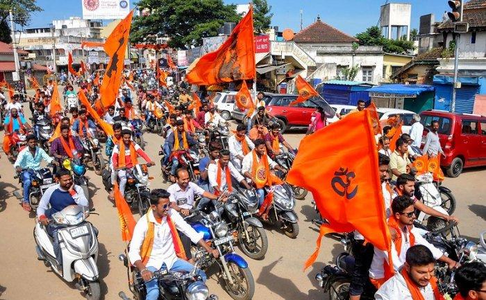 Bajrang Dal and the Vishwa Hindu Parishad activists. (PTI Photo)