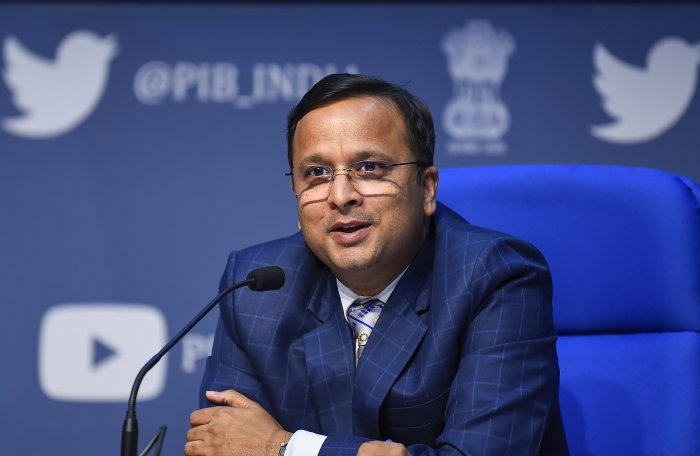 Ministry of Health and Family Welfare Joint Secretary Lav Agarwal addresses a press briefing on COVID-19 preparedness and updates, in New Delhi. (PTI Photo)