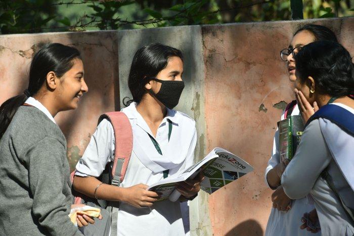 Students wear masks amid coronavirus fears. (PTI Photo)