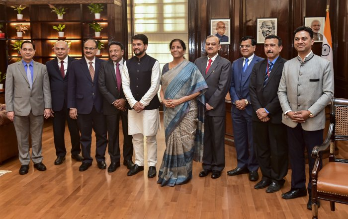 Union Finance Minister Nirmala Sitharaman, MoS Finance Anurag Thakur and finance ministry officials pose for a photograph after giving final touches to the Union Budget 2020-21, at Finance Ministry, in New Delhi. (PTI Photo)