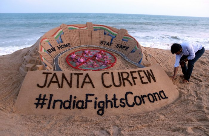 Representative photo; A renowned sand artist Sudarsan Pattnaik gives final touches to a sand sculpture. (Credit: PTI)
