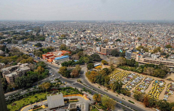 A top view of the deserted roads near Ramlila Maidan on the second day of the complete lockdown in the national capital to contain the spread of nover coronavirus disease (Covid-19), in New Delhi, March 24, 2020. (Credit: PTI Photo)