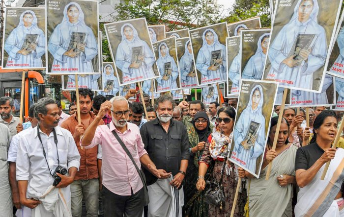 A protest march taken towards Ernakulam IG office demanding arrest of Bishop Franco Mulakkal, accused of raping a nun, in Kochi. (PTI Photo)