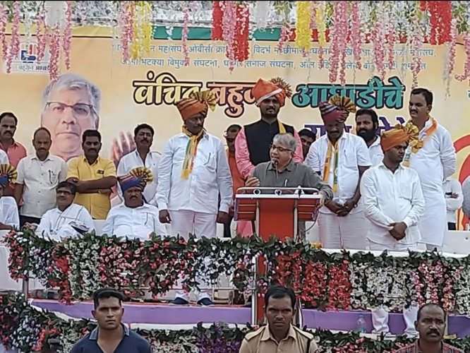 """Addressing an election rally in Maharashtra's Aurangabad district on Monday, he appealed to the Muslim community to support secular forces and start a """"new chapter of friendship with VBA"""". (Twitter)"""