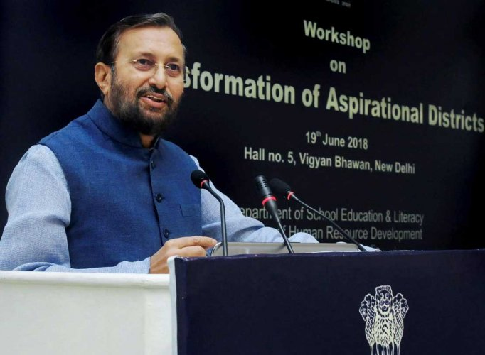 Union HRD Minister Prakash Javadekar addresses the District Education Officers, DIETs, SCERTs, State Nodal Officers and Central Ministries, at a workshop on 'Transformation of Aspirational Districts', in New Delhi on Tuesday, June 19, 2018. (PTI Photo)
