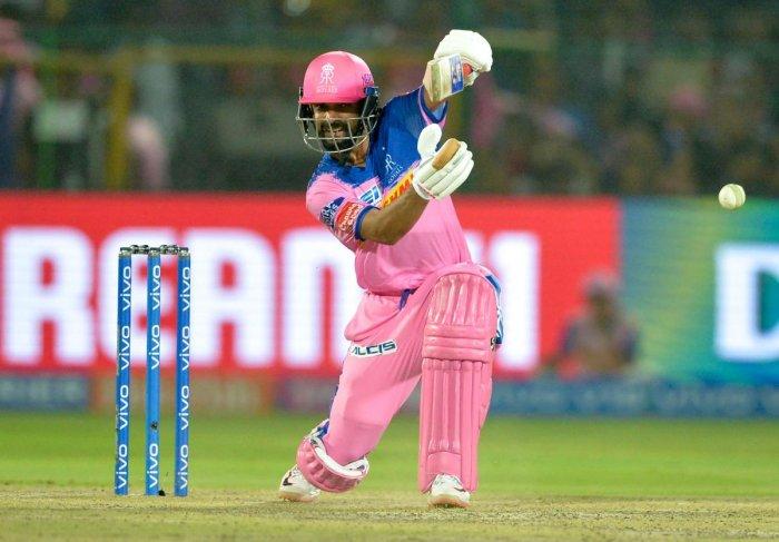 Rajasthan Royals batsman Ajinkya Rahane plays a shot during a 2019 IPL match. Credit: AFP