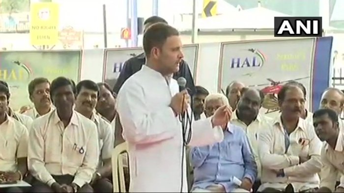 Rahul Gandhi showed the way by addressing a gathering of retired HAL employees. ANI photo.