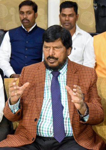 Republican Party of India (A) chief Ramdas Athawale addresses a press conference, in Patna, Saturday, Nov. 23, 2019. (PTI Photo)