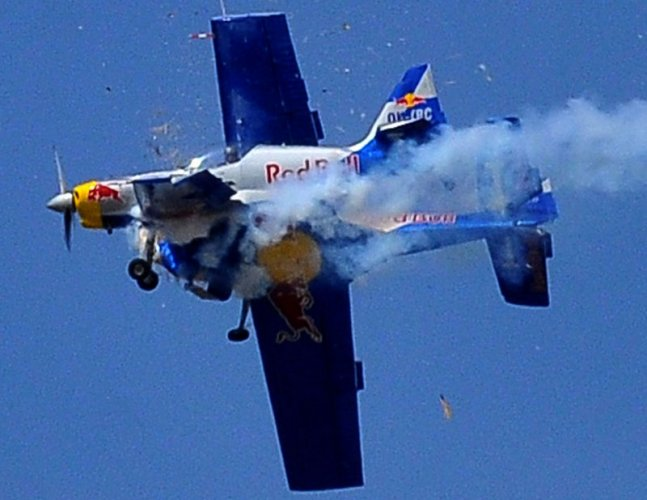In 2015, two Red Bull race aircraft made contact in the air but the pilots managed to survive.
