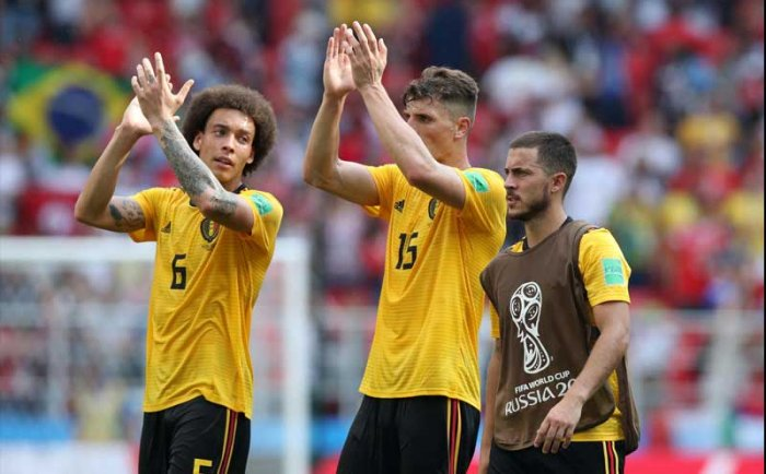 Belgium's Axel Witsel, Thomas Meunier and Eden Hazard after the match. Spartak Stadium, Moscow, Russia - June 23, 2018. Reuters.