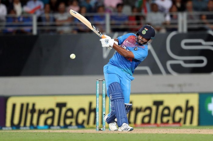 India's Rishabh Pant plays a shot during the second Twenty20 international cricket match between New Zealand and India in Auckland on February 8, 2019. (AFP Photo)