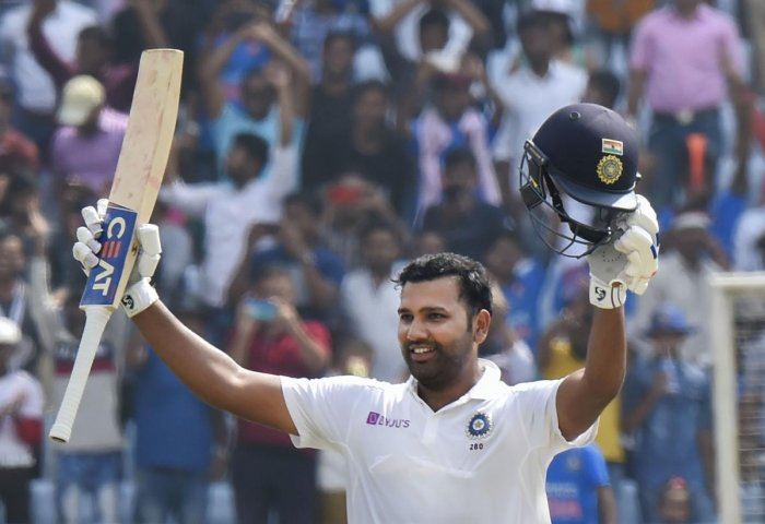 India's Rohit Sharma celebrates his double century during 2nd day of the 3rd cricket test match against South Africa at JSCA Stadium in Ranchi. PTI file photo