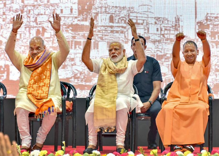 File picture of Prime Minister Narendra Modi with BJP President Amit Shah and UP CM Yogi Adityanath. Photo credit: PTI