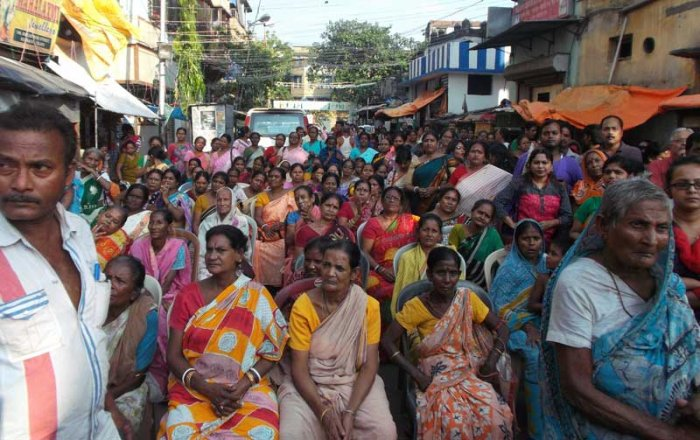 An old photo of Sonagachi sex workers attending a programme in Kolkata.