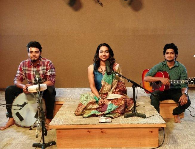 (From left) Sumukh Ravishankar, Ananya Bhat and Vishal Naidruv.