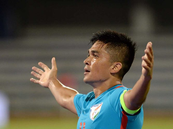 Chhetri is only the second Indian to feature in 100 international matches after former skipper Bhaichung Bhutia. DH file photo