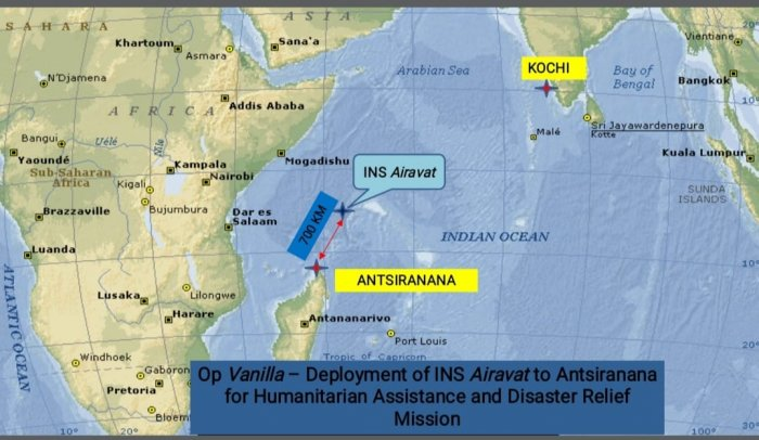 INS Airavat and the route for Operation Vanilla. (DH Image)