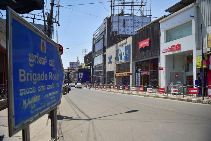 A deserted view of Brigade Road as the government announced the closure of malls, pubs and theatres in the wake of novel coronavirus pandemic, in Bengaluru, Saturday, March. 14, 2020. (PTI Photo)