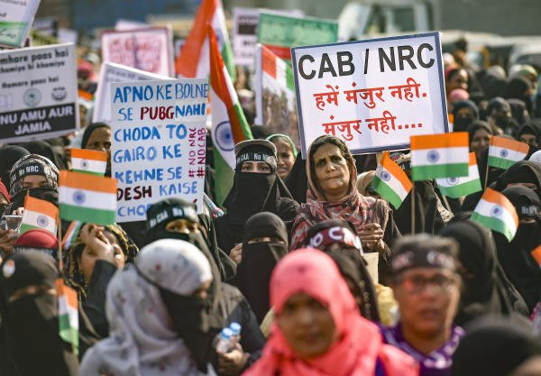 Muslim women participate in a protest rally against NRC and CAA at Mumbra near Thane, Sunday, Jan. 26, 2020. (PTI Photo)