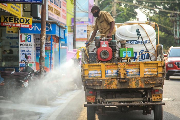 A worker sprays disinfectant in the wake of deadly coronavirus in Tamil Nadu. PTI
