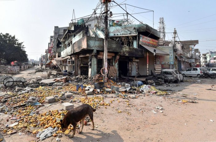 A view of Khajuri Khas area of the riot-affected north east Delhi, Wednesday, Feb. 26, 2020. Credit: PTI Photo