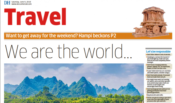 The front page of the new DH Travel Supplement.