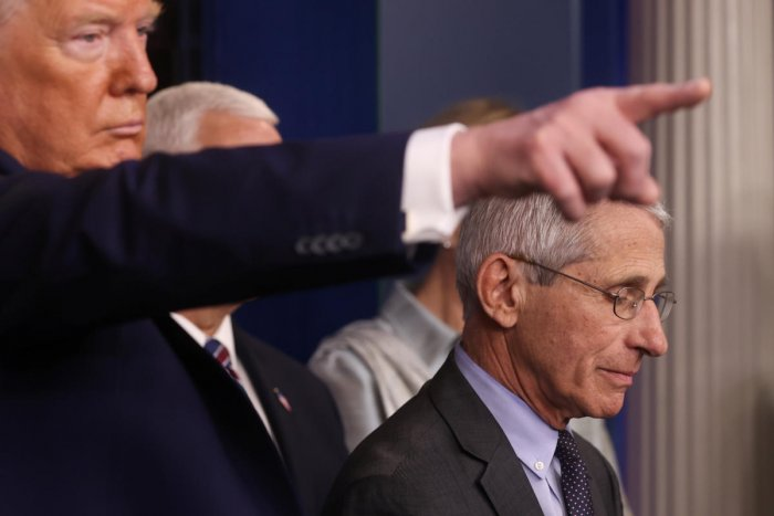 Donald Trump takes questions with National Institute of Allergy and Infectious Diseases Director Anthony Fauci at the coronavirus response daily briefing at the White House. Reuters