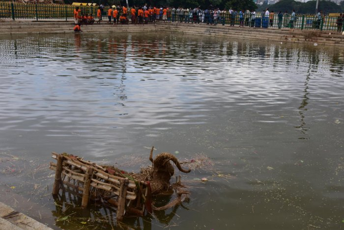 The volunteers from Environmentalist Foundation of India (EFI) are gearing up to clean three lakes in East Bengaluru after Ganesha festival. DH file photo