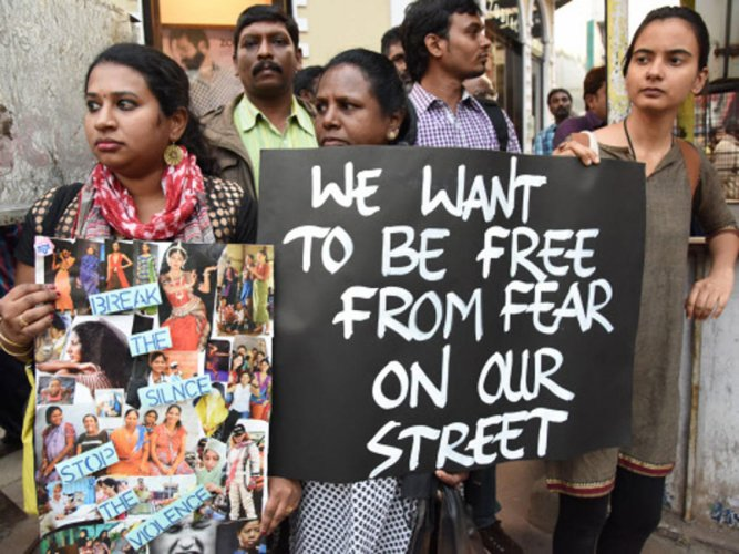 A protest against sexual harassment. DH file photo for representation.