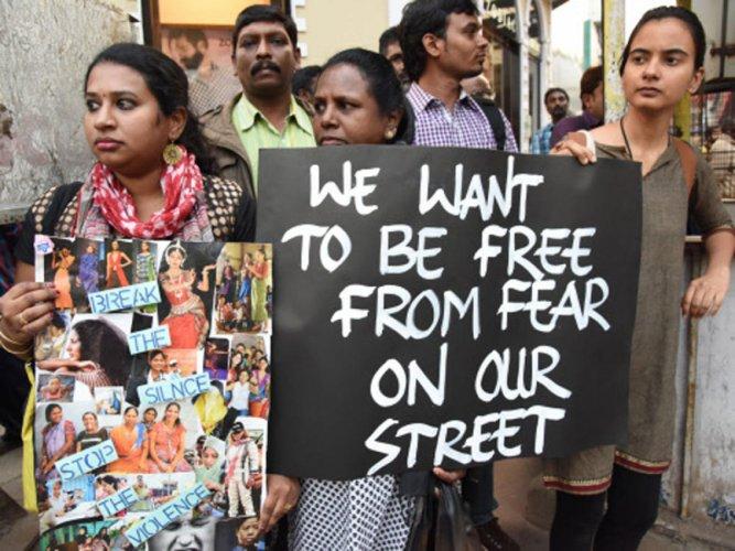 A Protest against rape. (DH file photo)