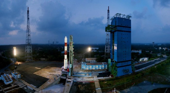 Sriharikota: Fully integrated PSLV-C40 with all the 31 Spacecrafts at First Launch Pad, at Sriharikota on Wednesday. ISRO's 100th satellite is set for launch from Satish Dhawan Space Centre, along with 30 others in a single mission. PTI Photo / ISRO (PTI1