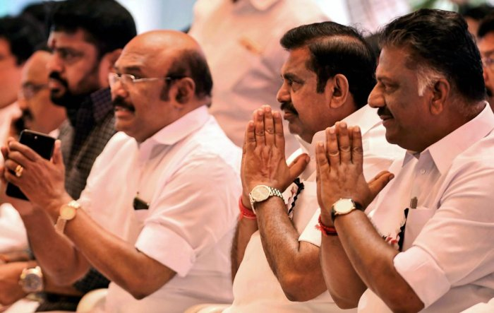 Tamil Nadu Chief Minister Edapadi K Palaniswami, Deputy Chief Minister O Paneerselvam, Fisheries Minister D Jayakumar (left). PTI file photo