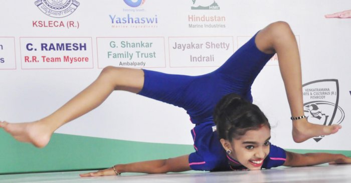 A file photo of Tanushree Pitrody performing 'Nirlambha Poorna Chakrasana.'