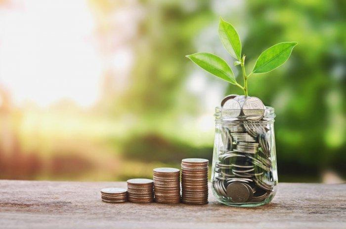Plant growing on Coins glass jar and concept money savingEconomic growth
