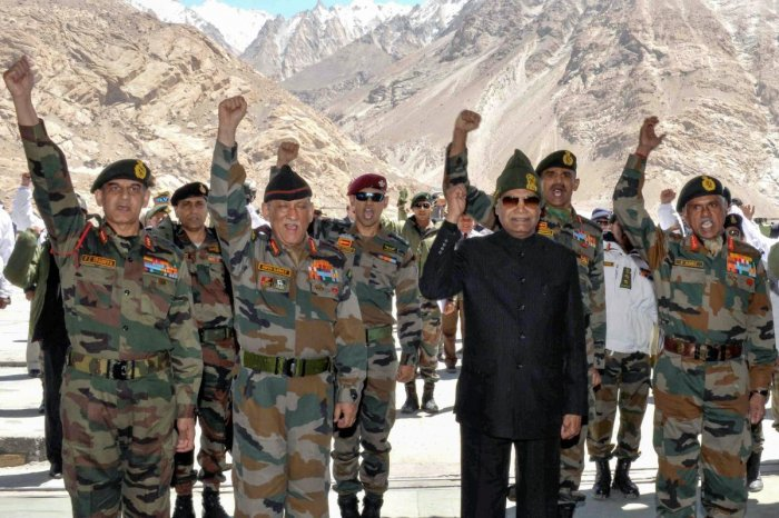 President Ram Nath Kovind with the soldiers at Siachen Base Camp on Thursday. PTI