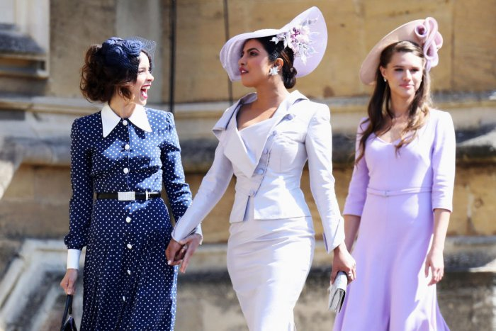 (L-R)Abigail Spencer and Priyanka Chopra arrive at the wedding of Prince Harry to Ms Meghan Markle at St George's Chapel, Windsor Castle on May 19, 2018 in Windsor. REUTERS Photo