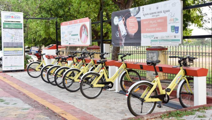 Trin-Trin, public sharing bicycles, at a docking station, in Mysuru.