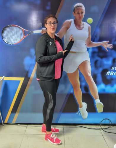 Multiple Grand Slam winner Mary Pierce, who is the International Brand Ambassador for the 11th edition of TCS World 10K run, strikes a pose in Bengaluru on Thursday. DH photo/ S K Dinesh
