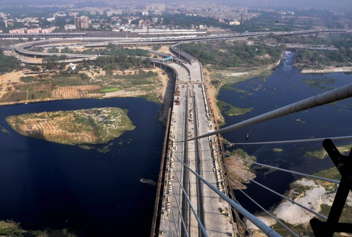An aerial view of the Delhi's iconic Signature Bridge. PTI file photo