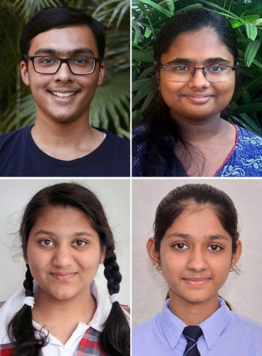Clockwise from top: Prakhat Mittal, Sreelakshmi G., Nandini Garg and Rimzhim Aggarwal, who jointly secured the first spot in CBSE's class 10th examinations, as the results were declared by the CBSE on Tuesday. PTI