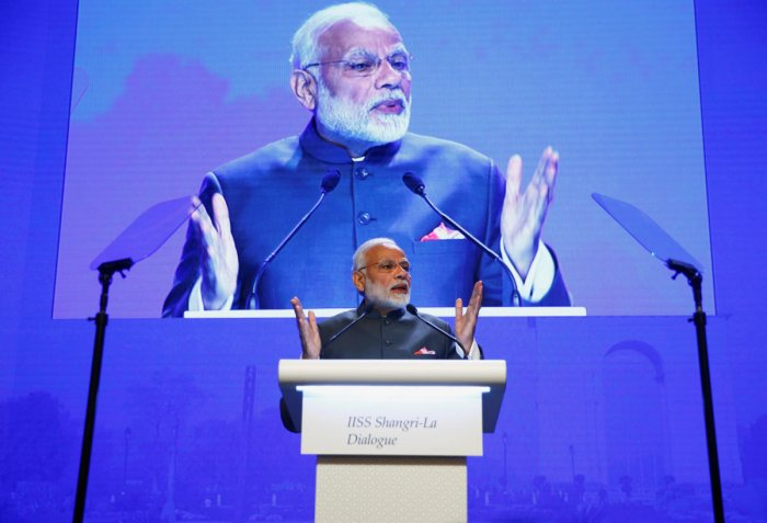 India's Prime Minister Narendra Modi delivers the keynote address at the IISS Shangri-la Dialogue in Singapore. Reuters photo