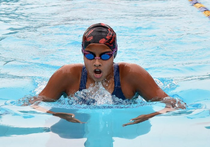 ON SONG: Suvana C Bhaskar of Dolphin Aquatics en route to the girls' Group I 200M medley gold. DH PHOTO